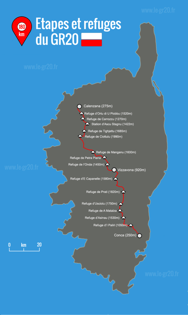 Carte issu du site le-gr20.fr