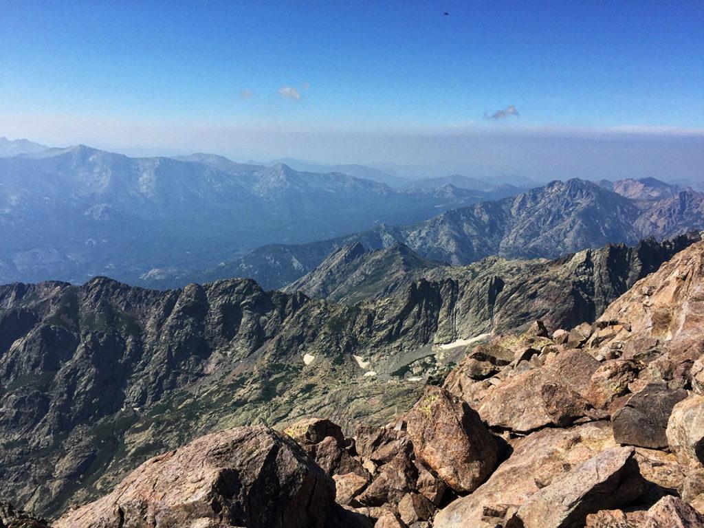 Vue dégagée du sommet du Cinto, GR20 Virée Verticale